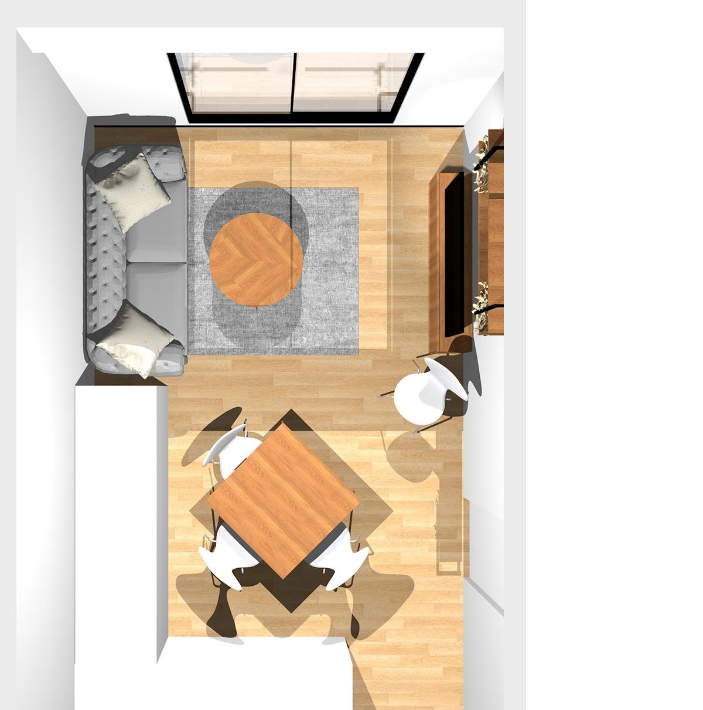 イエロー×水色で楽しげにまとめたリビングダイニング(壁付けL型キッチン)のパース