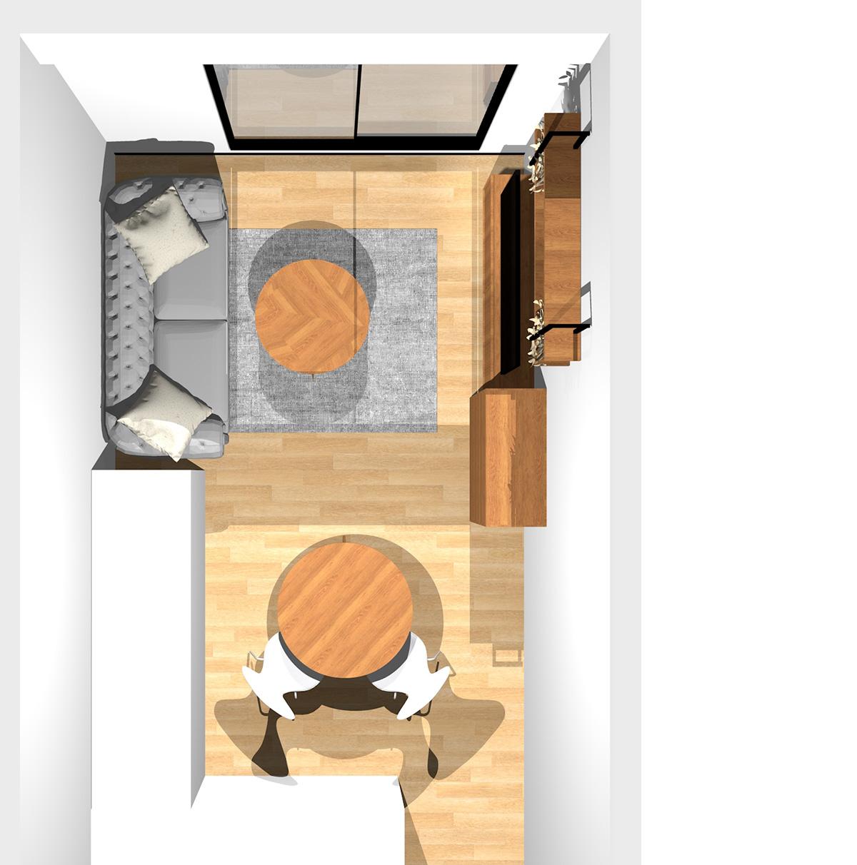 柔らかい配色で寒暖のバランスを取ったリビングダイニング(壁付けL型キッチン)のパース