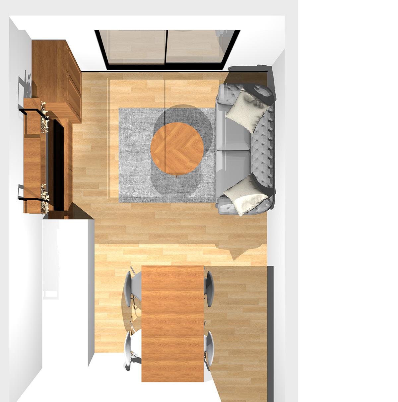ポップな色使いでエレルギッシュにかっこよく!ヴィンテージスタイルのリビングダイニング(壁付けI型キッチン)のパース