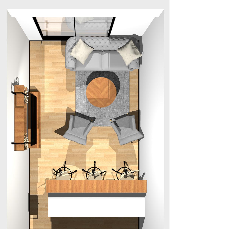 無彩色+朽ちた木の組み合わせがかっこいいリビングダイニング(Ⅱ型対面キッチン)のパース