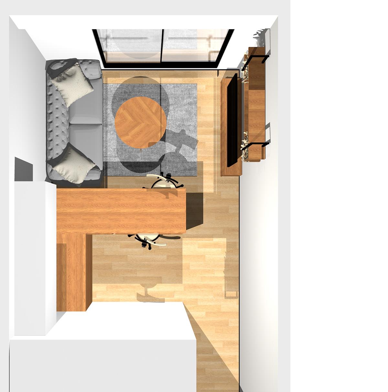 家具調キッチンでクラシカルな雰囲気を演出したコンパクトなリビングダイニング(L型対面キッチン)のパース