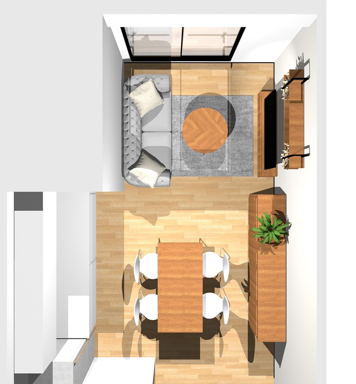 ヴィンテージな木製家具がポイント!無機質の中に木の質感を取り入れたかっこいいリビングダイニング(壁付けI型キッチン)のパース