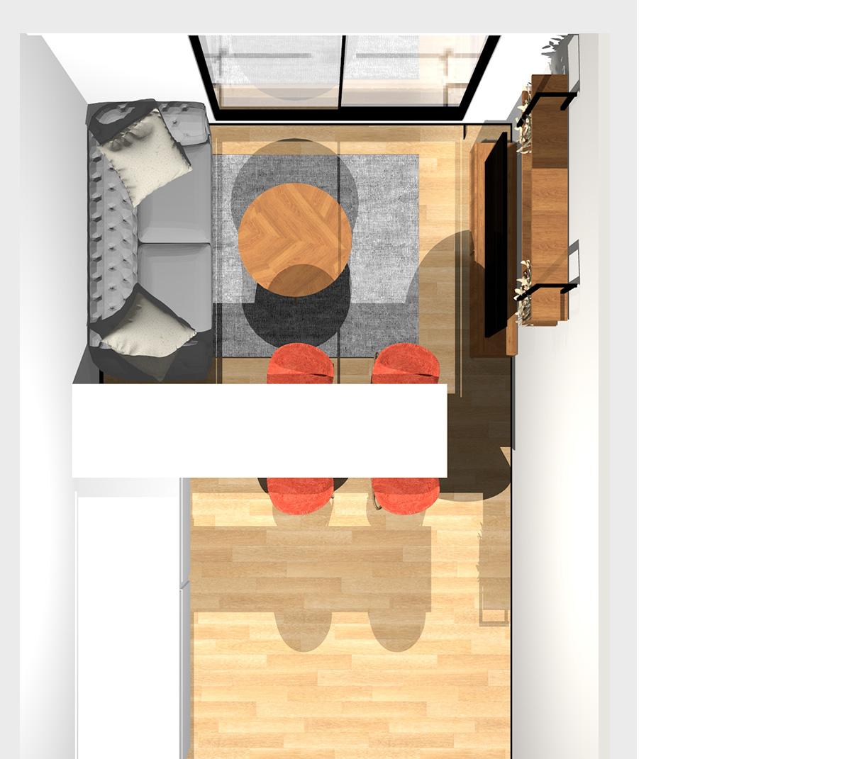 キッチンの側面をリビング側から使える収納にしたリビングダイニング(壁付けI型キッチン)のパース