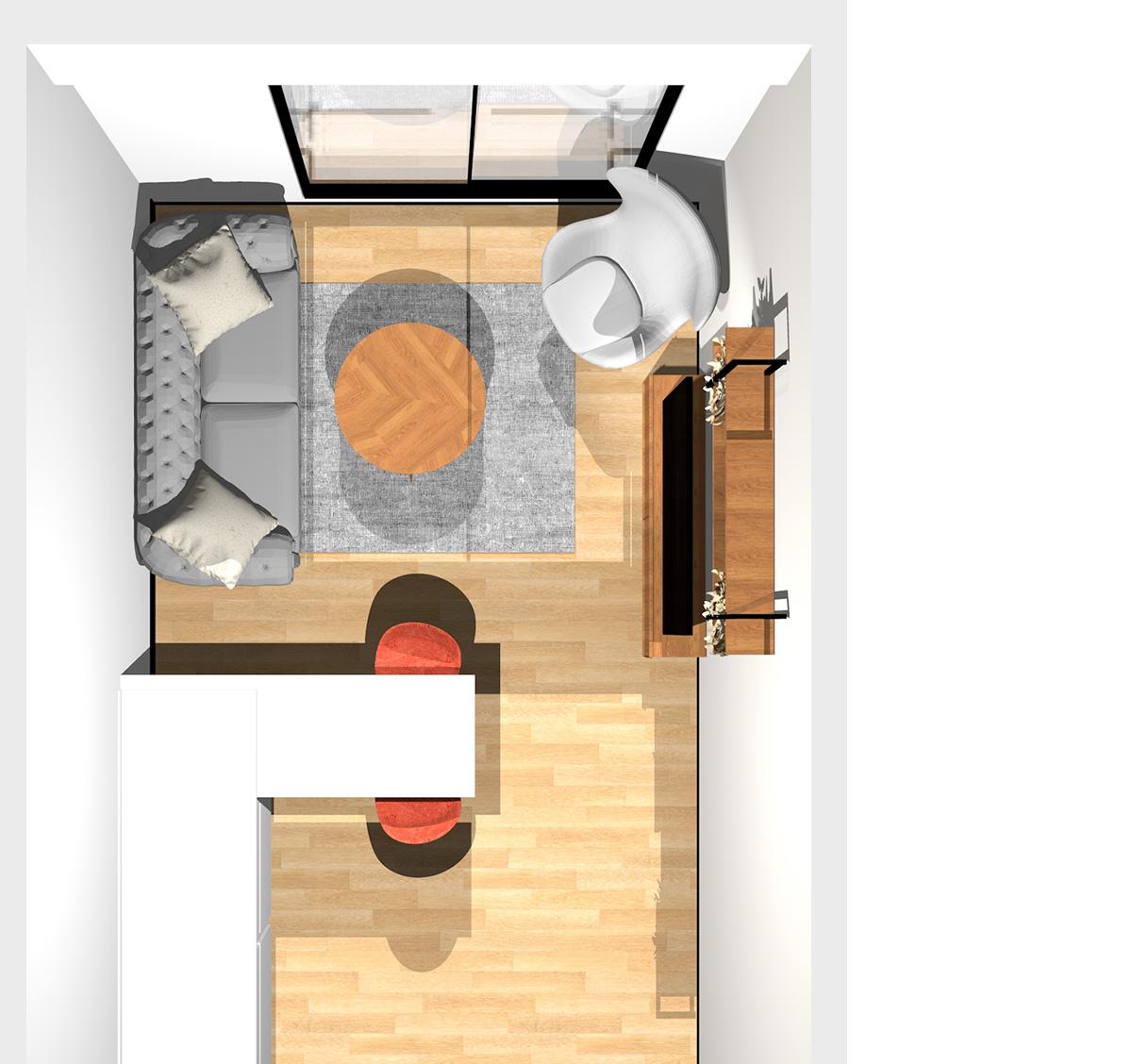 1~2人暮らしに最適!コンパクトなダイニングの作り方がセンス抜群のリビングダイニング(壁付けI型キッチン)のパース