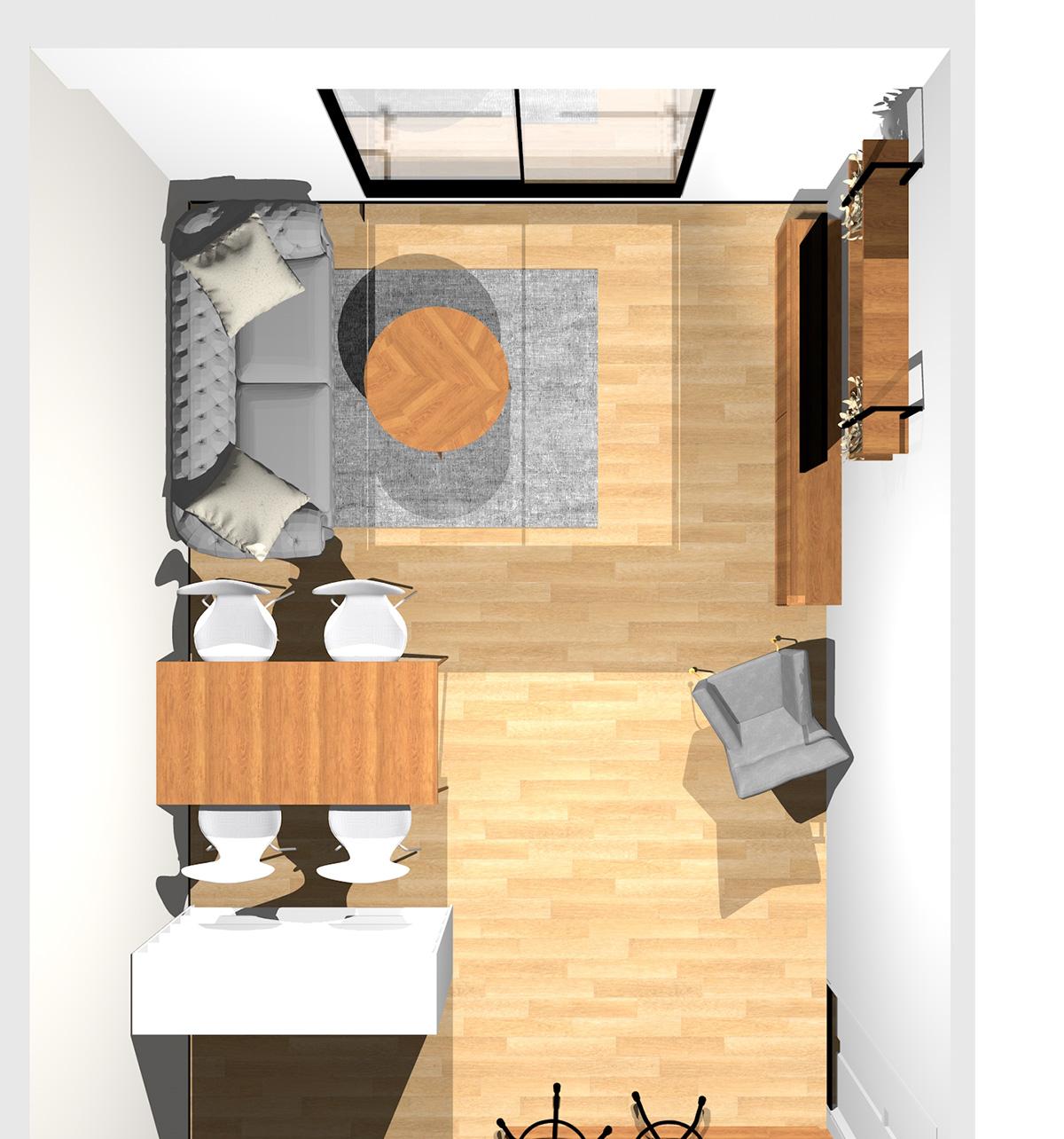 オープンシェルフを間仕切りに活用した上品で清潔感のあるリビングダイニング(壁付けI型キッチン)のパース