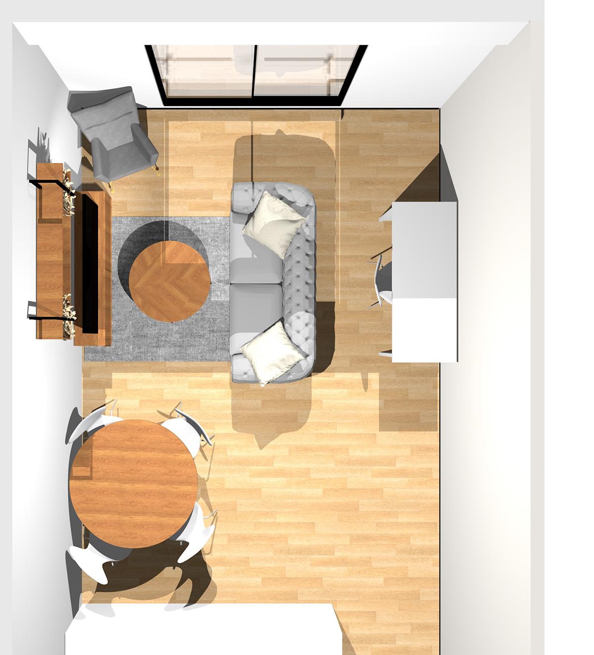 ホワイトを基調にした開放感のあるリビングダイニング(壁付けI型キッチン)のパース