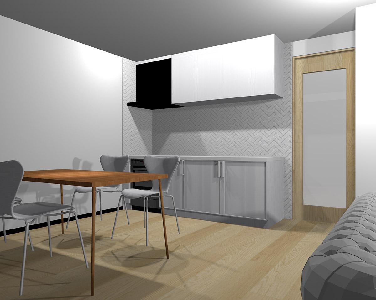 壁面をホワイトの長方形タイルの網代張りにしたキッチン