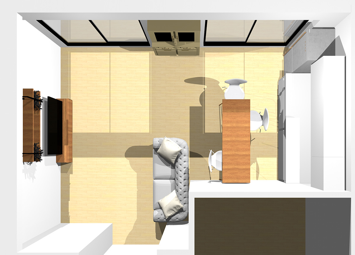 最低限の家具だけでヴィンテージ&クラシカルに!DIY感のあるリビングダイニング(壁付けI型キッチン)のパース
