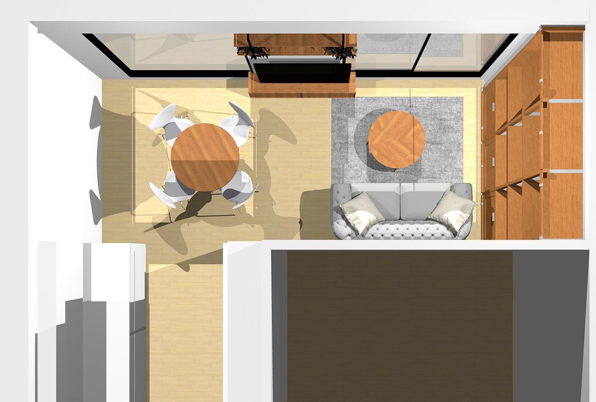 収納をタップリ確保した北欧スタイルのリビングダイニング(壁付けI型キッチン)のパース