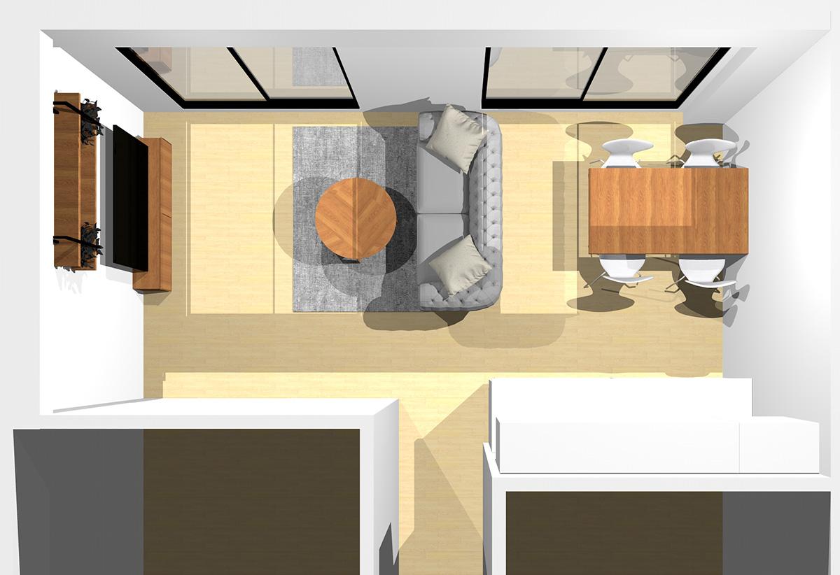ホワイトとブラウンでまとめたエレガントなリビングダイニング(壁付けL型キッチン)のパース