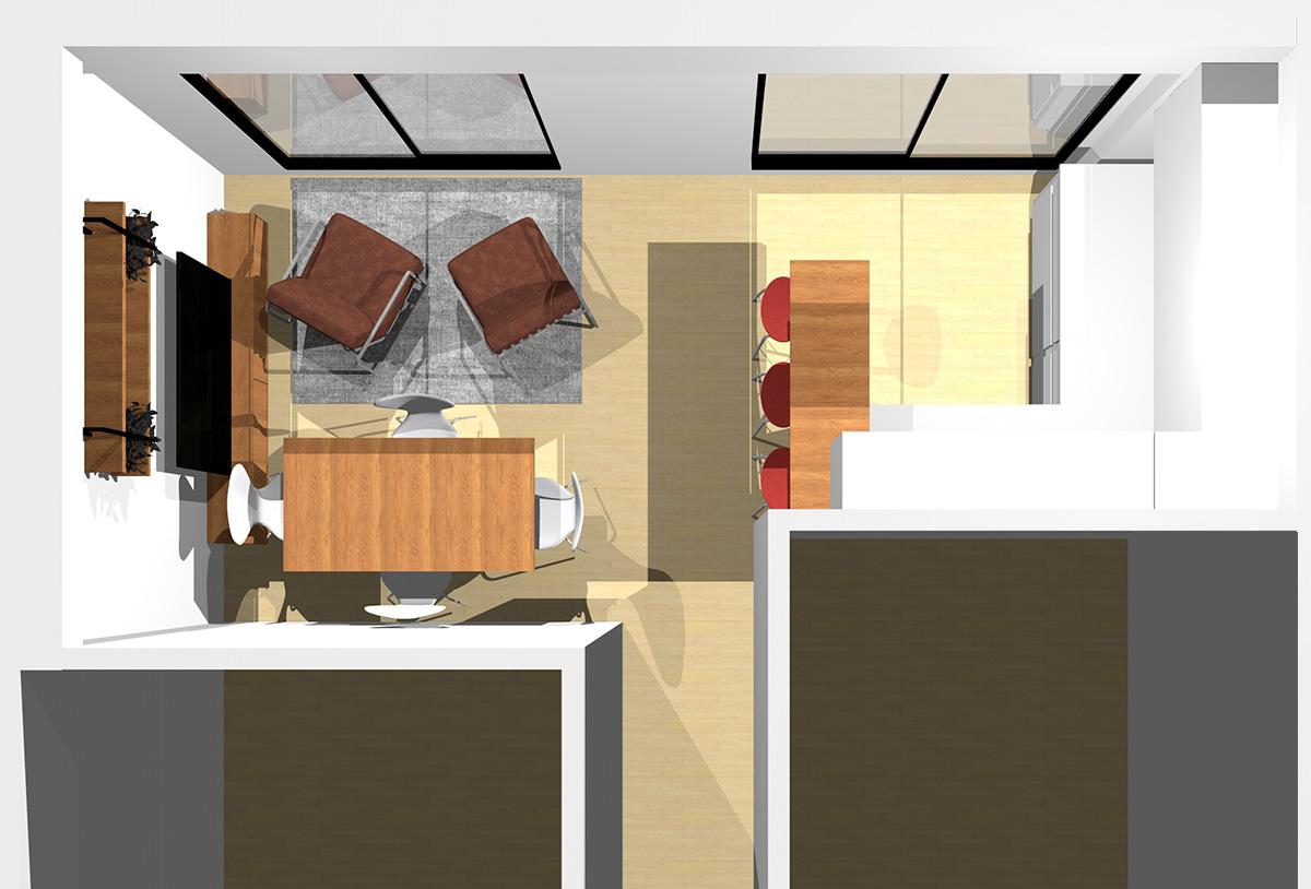 淡い色とスモーキーカラーを組み合わせ上品なリビングダイニング(壁付けL型キッチン)のパース
