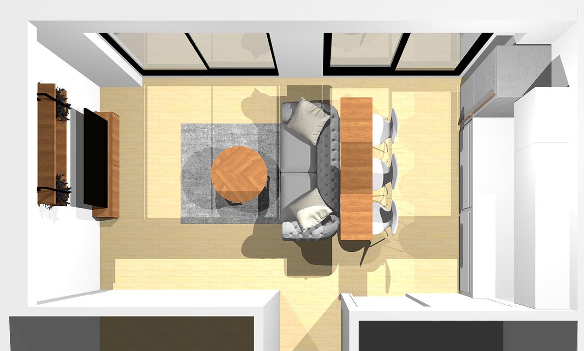 薄暗さとトロピカルで独特の空間を演出したリビングダイニング(壁付けI型キッチン)のパース