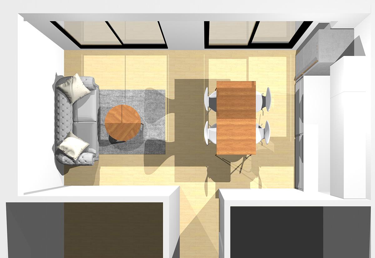 ソファ前をすっきりとした景色にしたリビングダイニング(壁付けI型キッチン)のパース