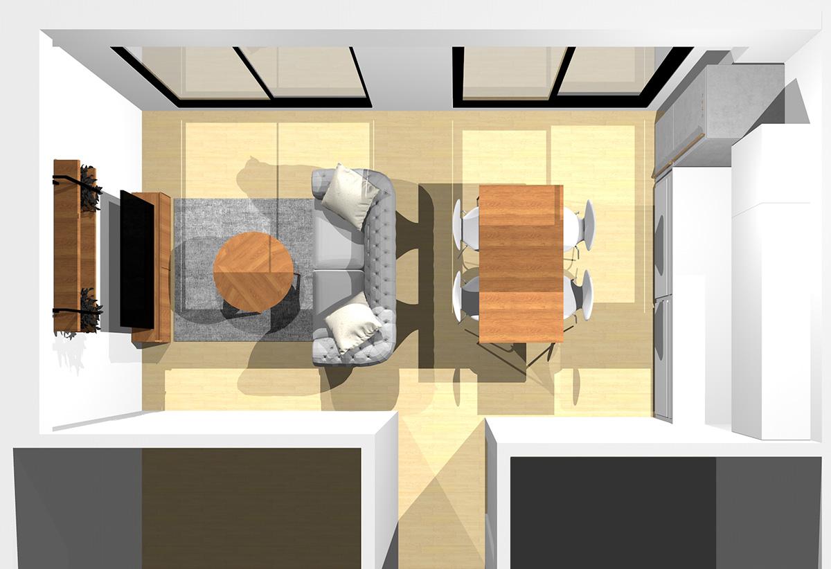 モノトーン幾何学模様がポイント!リビングダイニング(壁付けI型キッチン)のパース