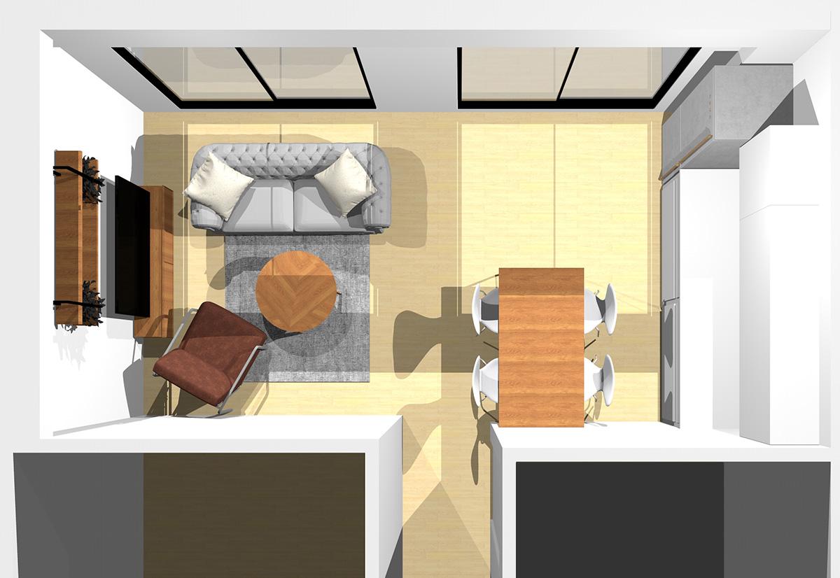 ブルー×イエローのカジュアルカラーを使ってエレガントに仕上げたリビングダイニング(壁付けI型キッチン)のパース