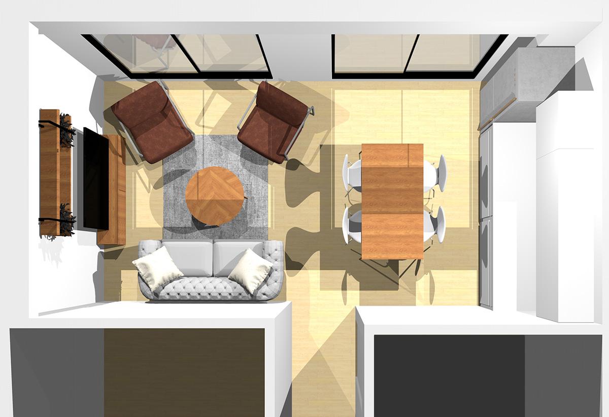ブラック×イエロー(ゴールド)でメリハリを演出したモダンなリビングダイニング(壁付けI型キッチン)のパース