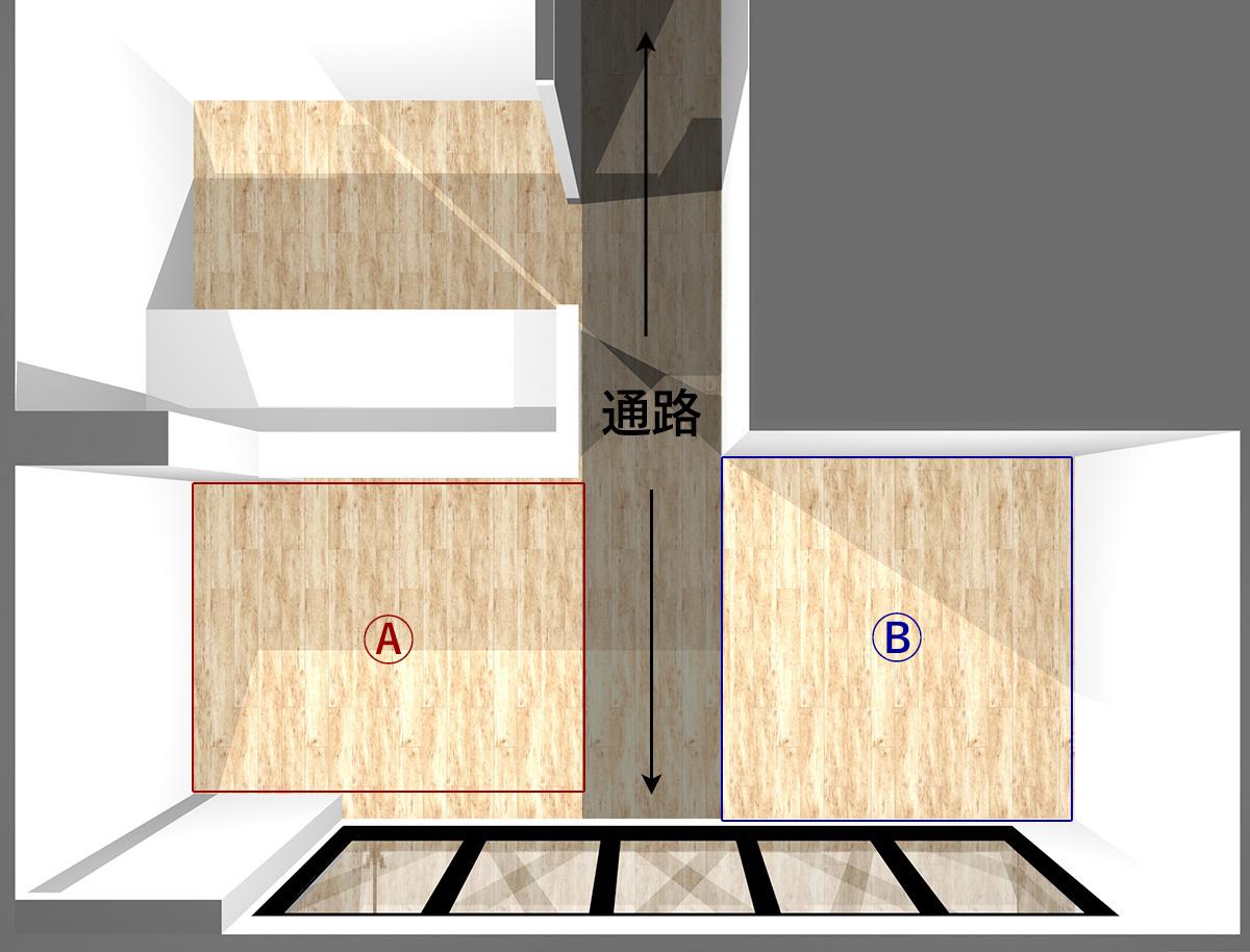 横に長いキッチンのキッチン前(Ⓐ)と通路と隣(Ⓑ)