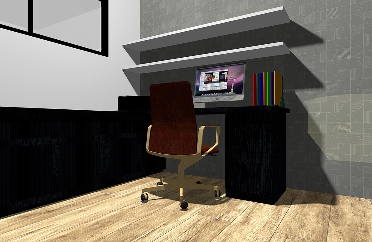 I型デスク+収納家具