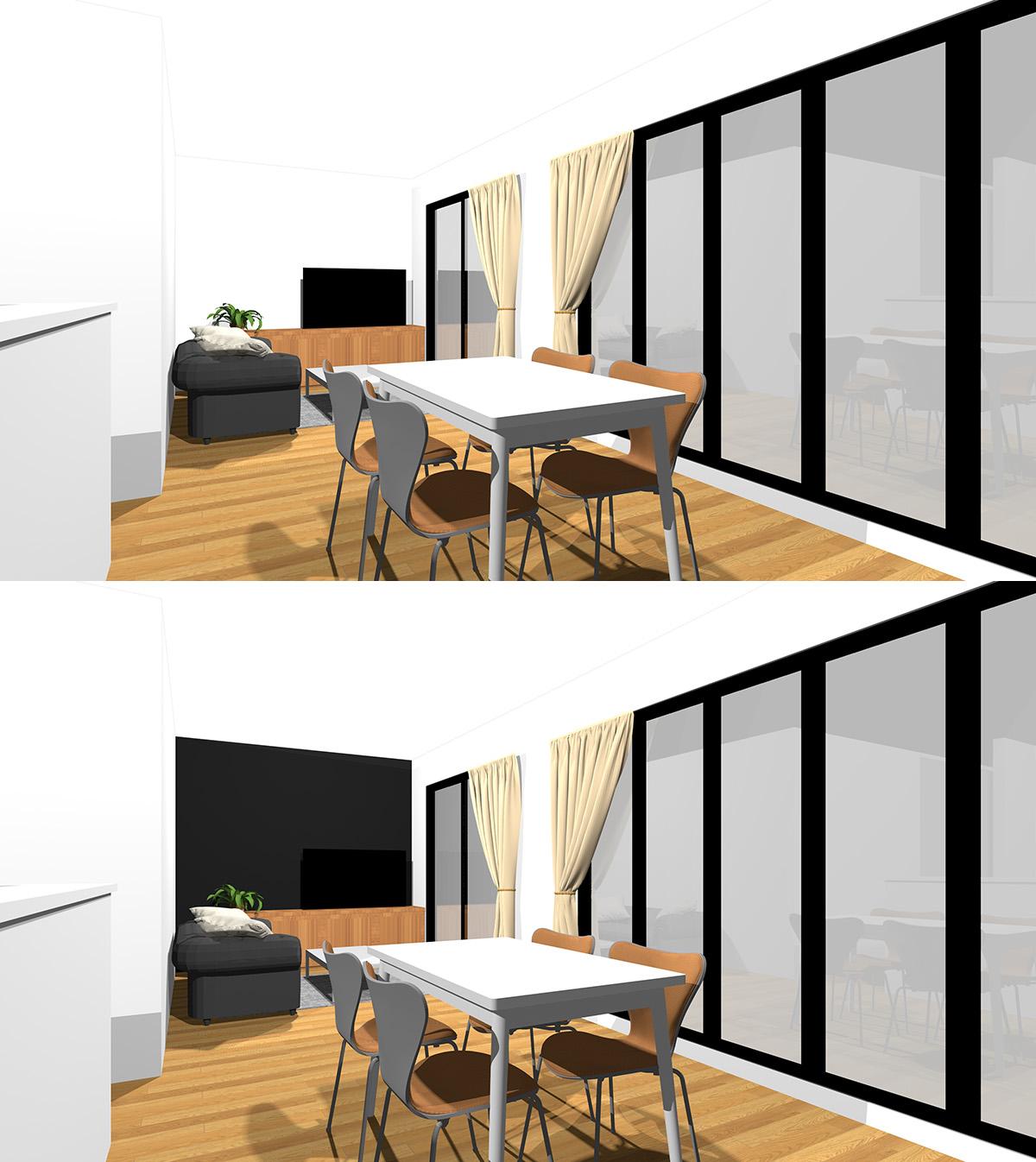 ホワイトの壁に囲まれた無難なファリー感のある配色のリビングダイニングと壁の一箇所を黒のアクセントクロスにしたリビングダイニングの比較