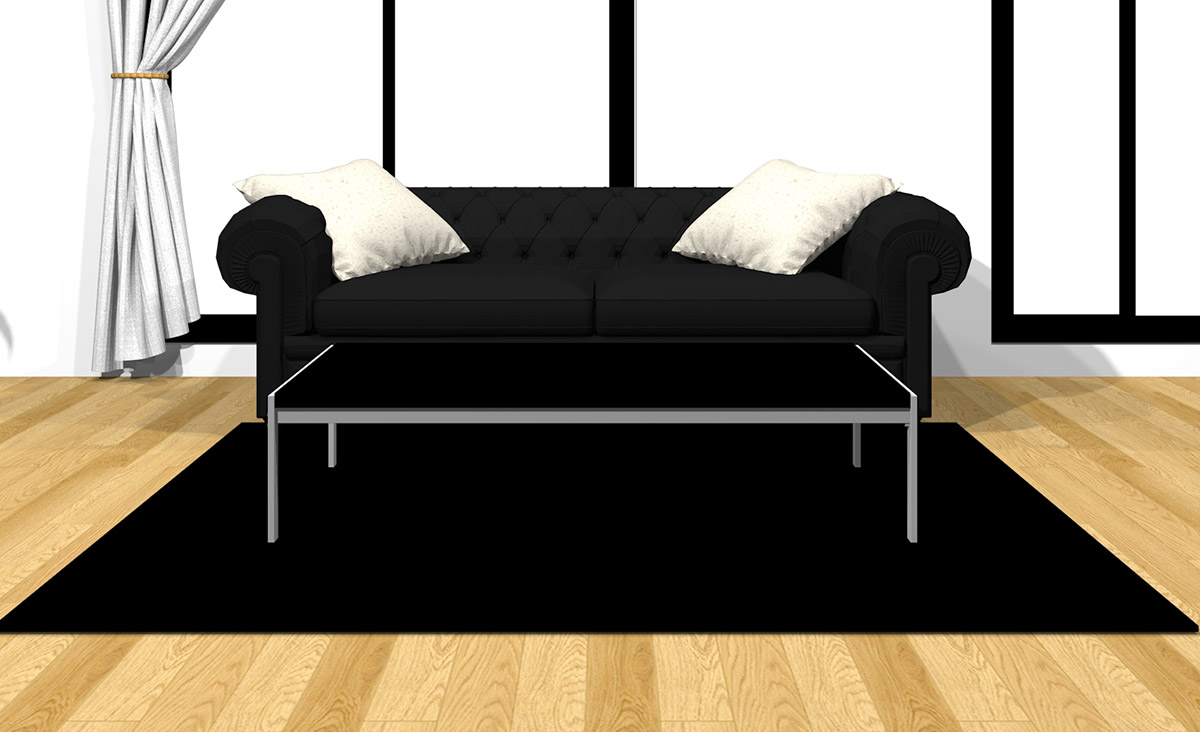 【ラグ】ブラック【ソファ】ブラック【コーヒーテーブル】ブラック