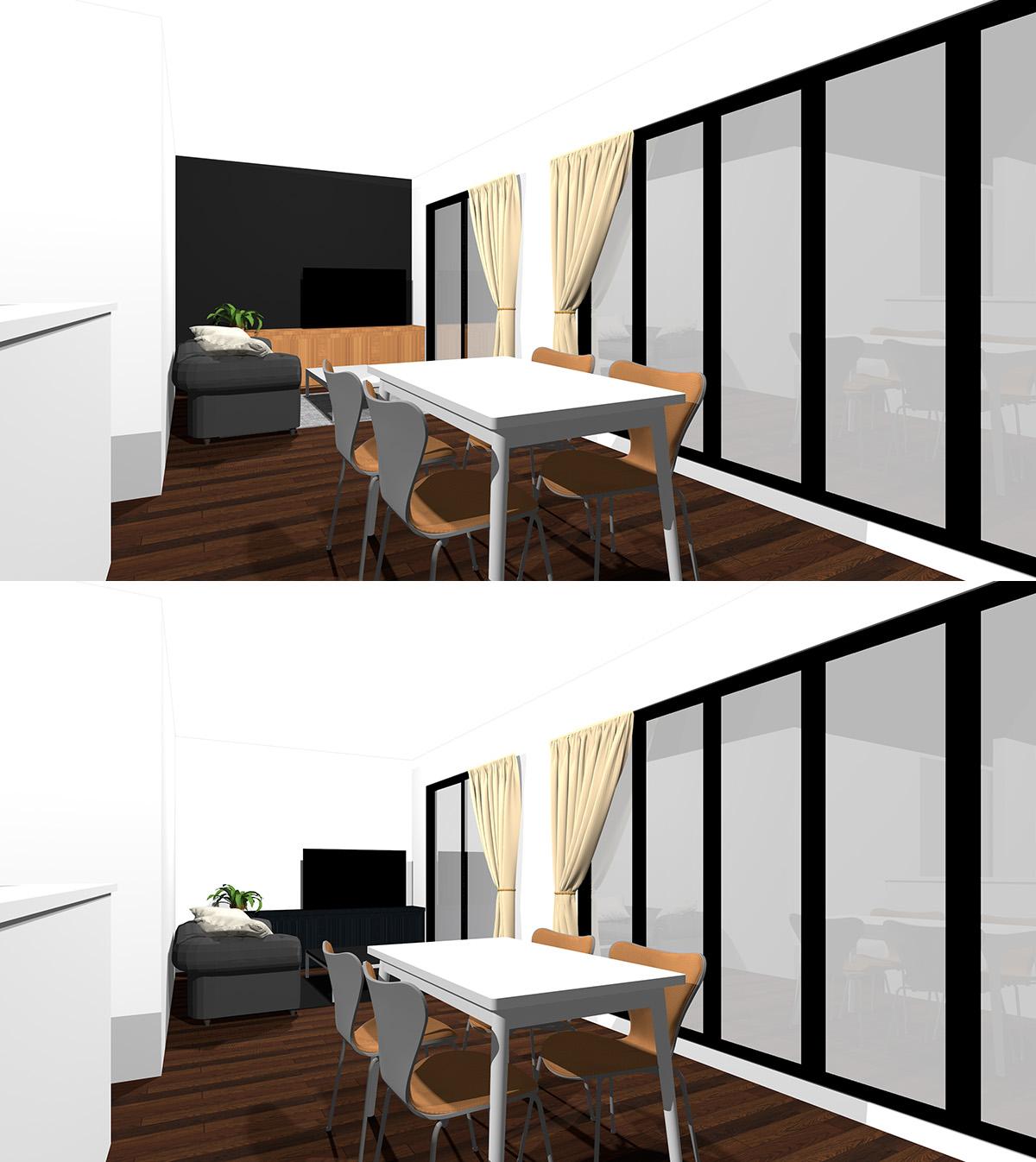 一箇所を黒のアクセントクロスにしたダークブラウンのフローリングのリビングダイニングと腰から下の家具やファブリックを黒にしたリビングダイニングの比較