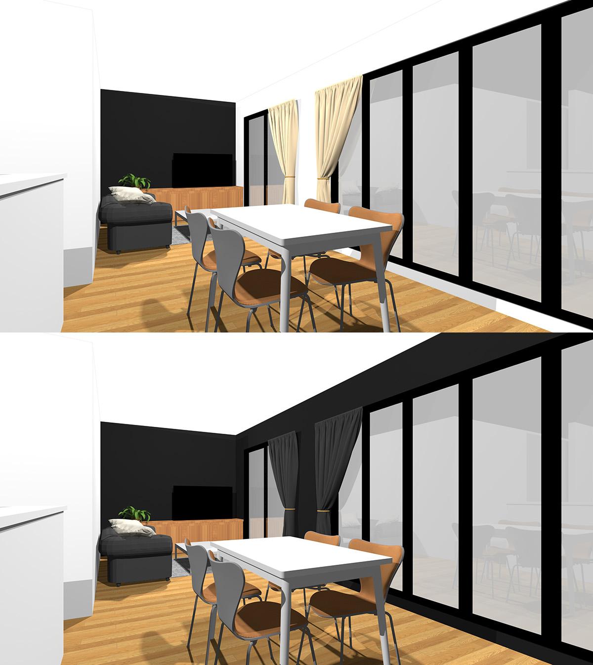 壁の一箇所を黒のアクセントクロスにしたリビングダイニングと壁の2箇所とカーテンを黒にしたリビングダイニングの比較