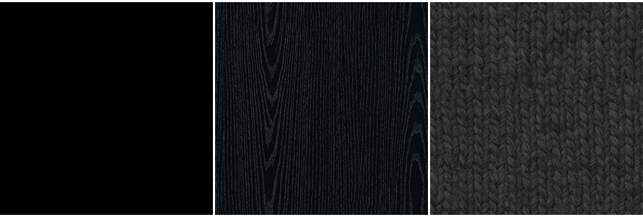 マットな黒・黒の木目・黒のファブリック