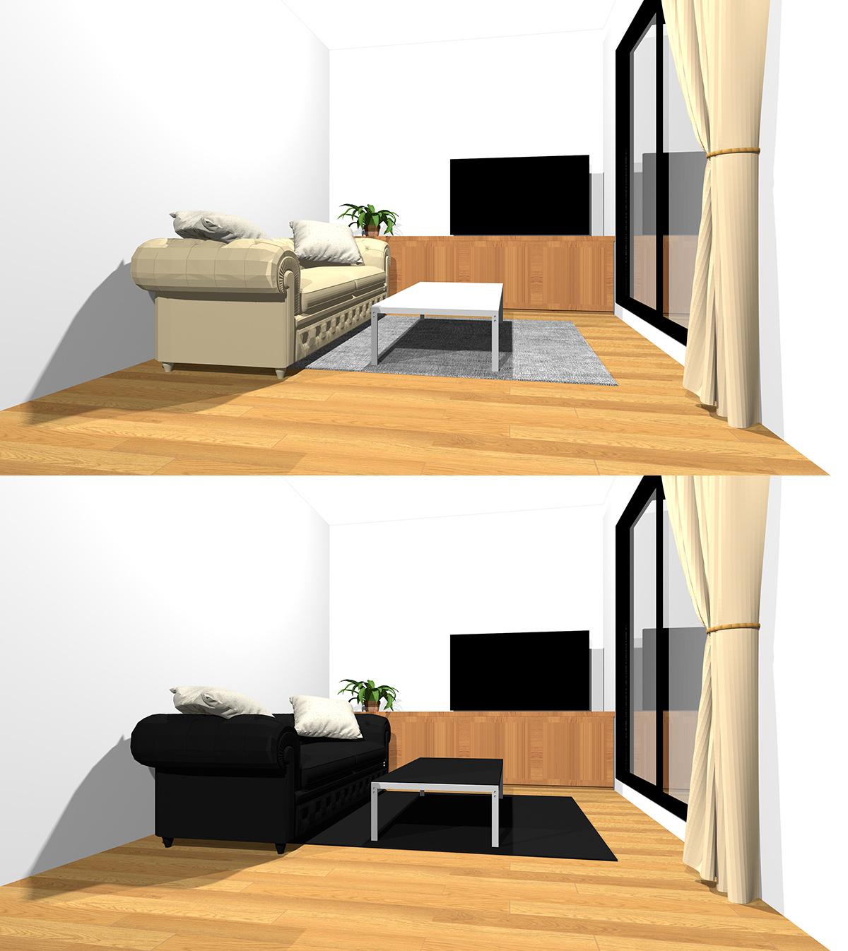 ソファ・ラグ・コーヒーテーブルを無難な配色でまとめたリビングと黒でまとめたリビングの比較