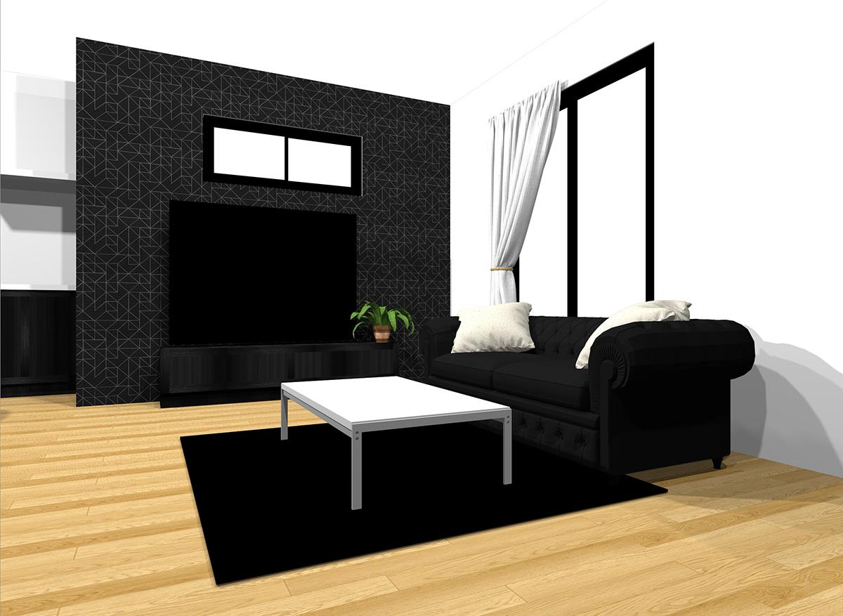 ブラックの壁とブラックのテレビボード