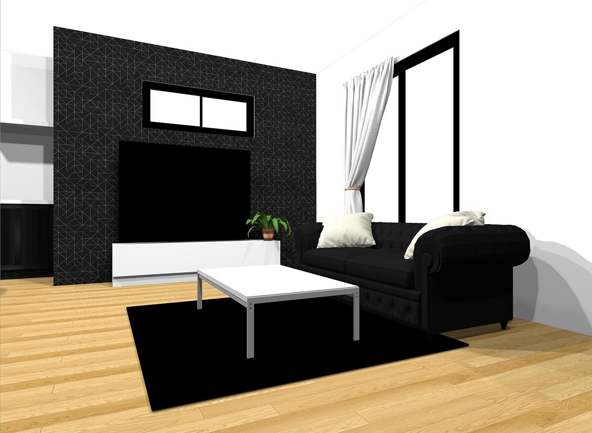ブラックの壁とホワイトのテレビボード
