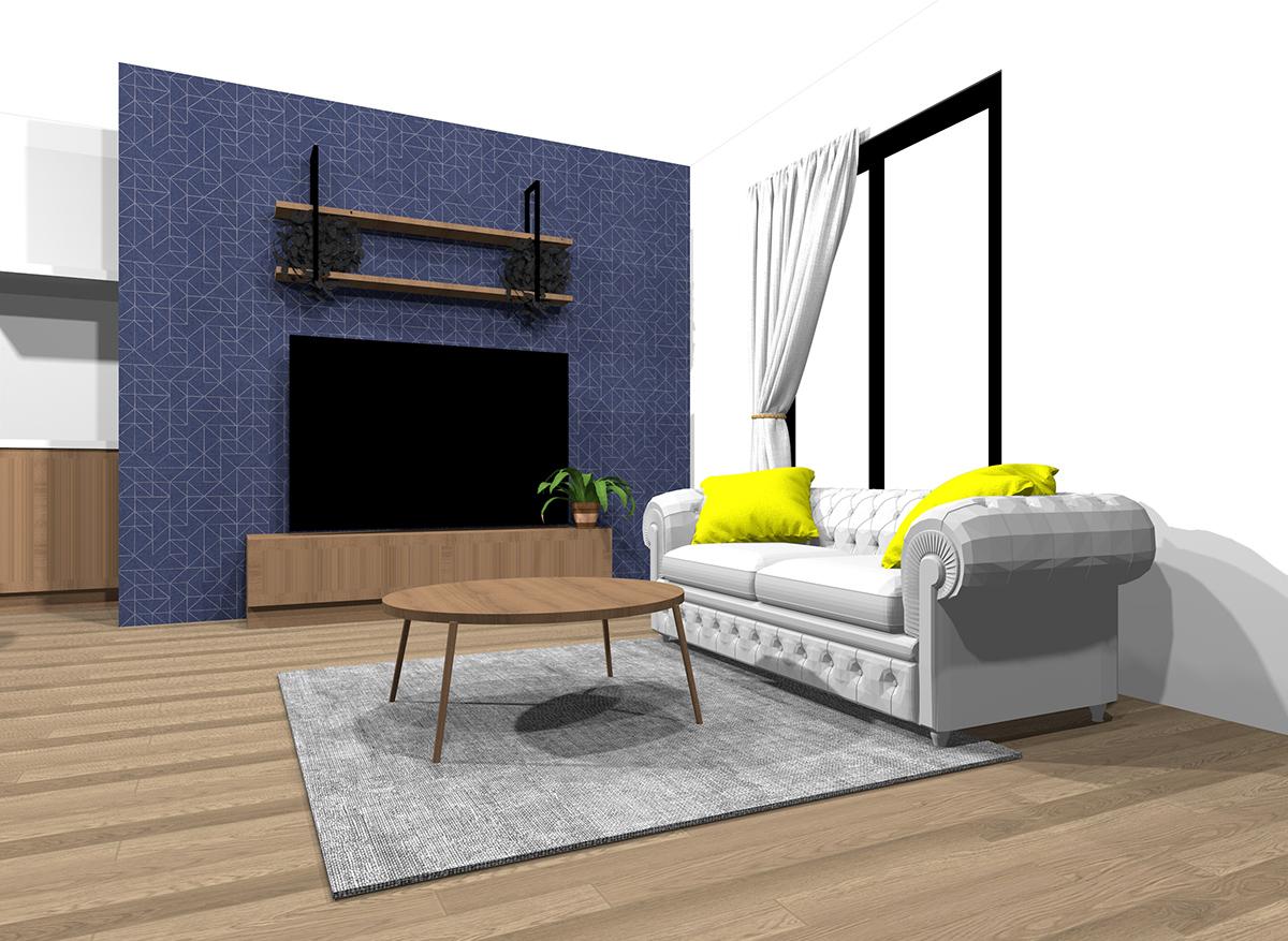 冷たい雰囲気のインテリアの具体例(床・壁・天井の色を変えることができる場合)