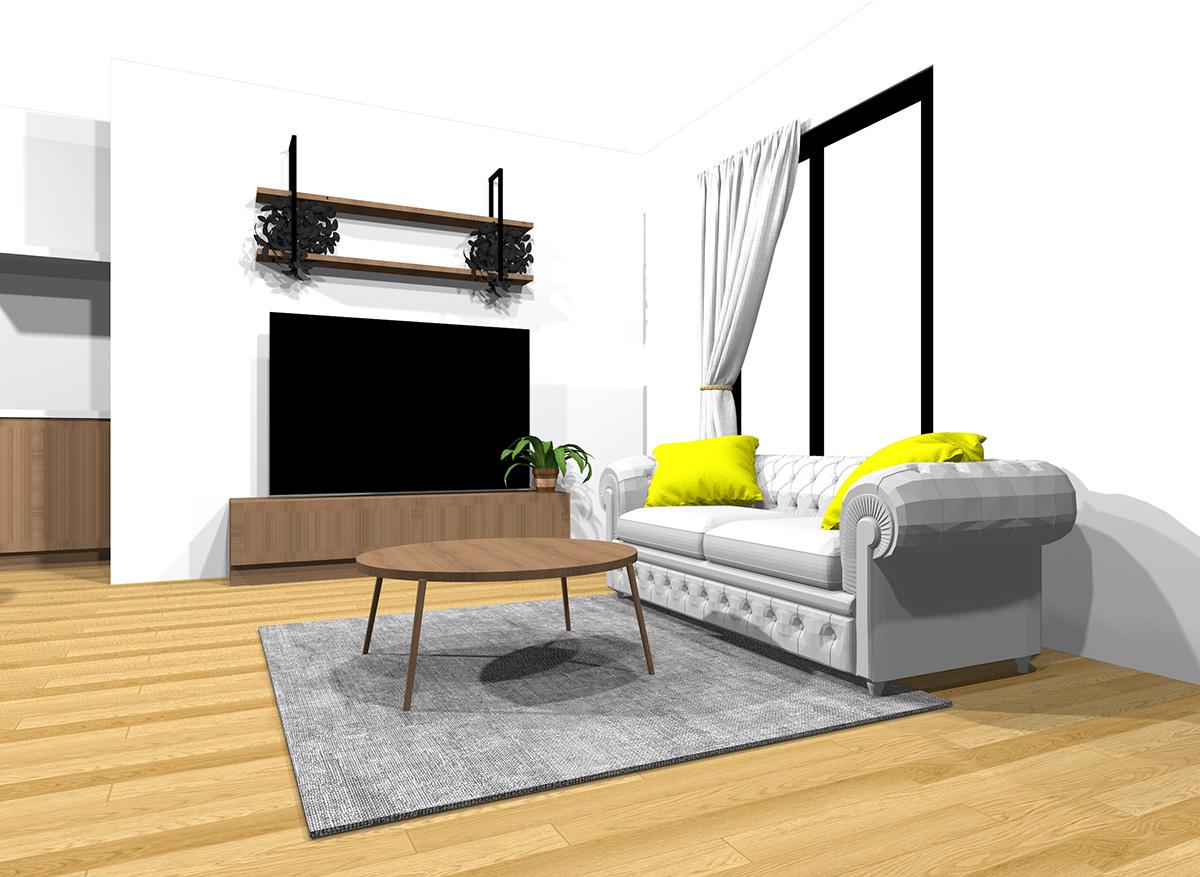 冷たい雰囲気のインテリアの具体例(床・壁・天井の色を変えることができない場合)