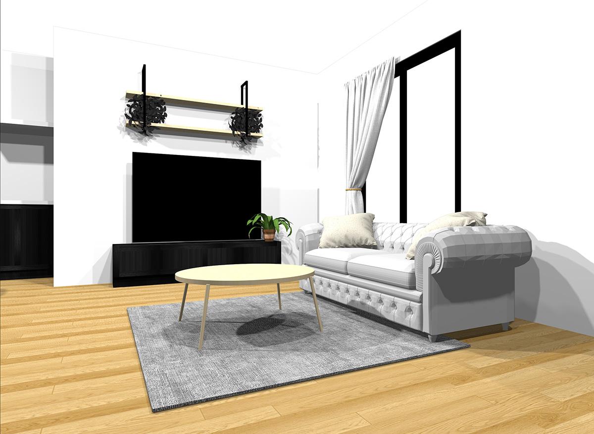 ダークな家具と明るい家具をミックスしたナチュラルブラウンの床のインテリア