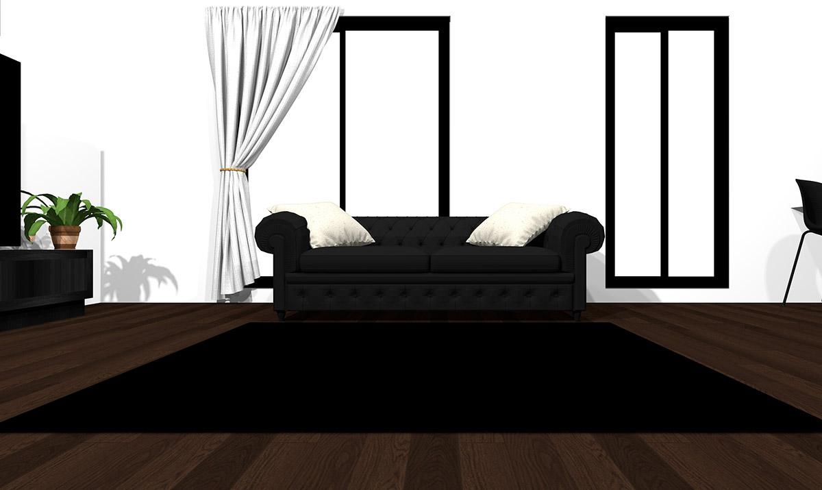 【暗い床】[ソファ]ブラック[ラグ]ブラック