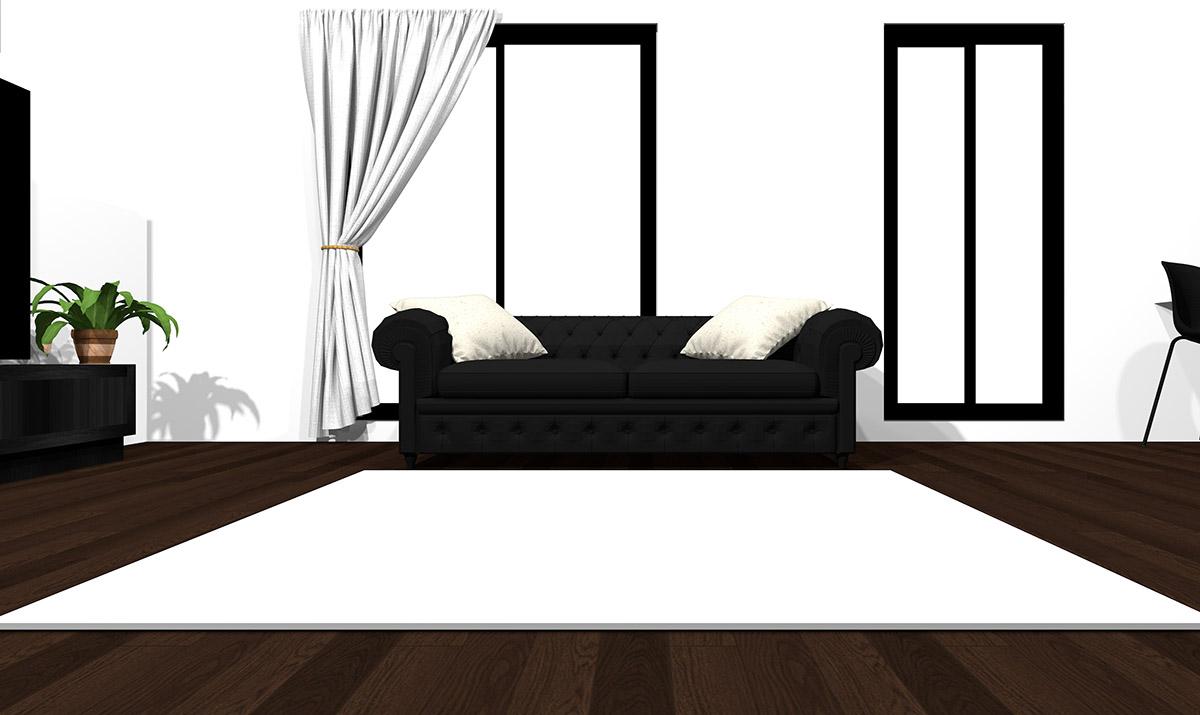 【暗い床】[ソファ]ブラック[ラグ]ホワイト