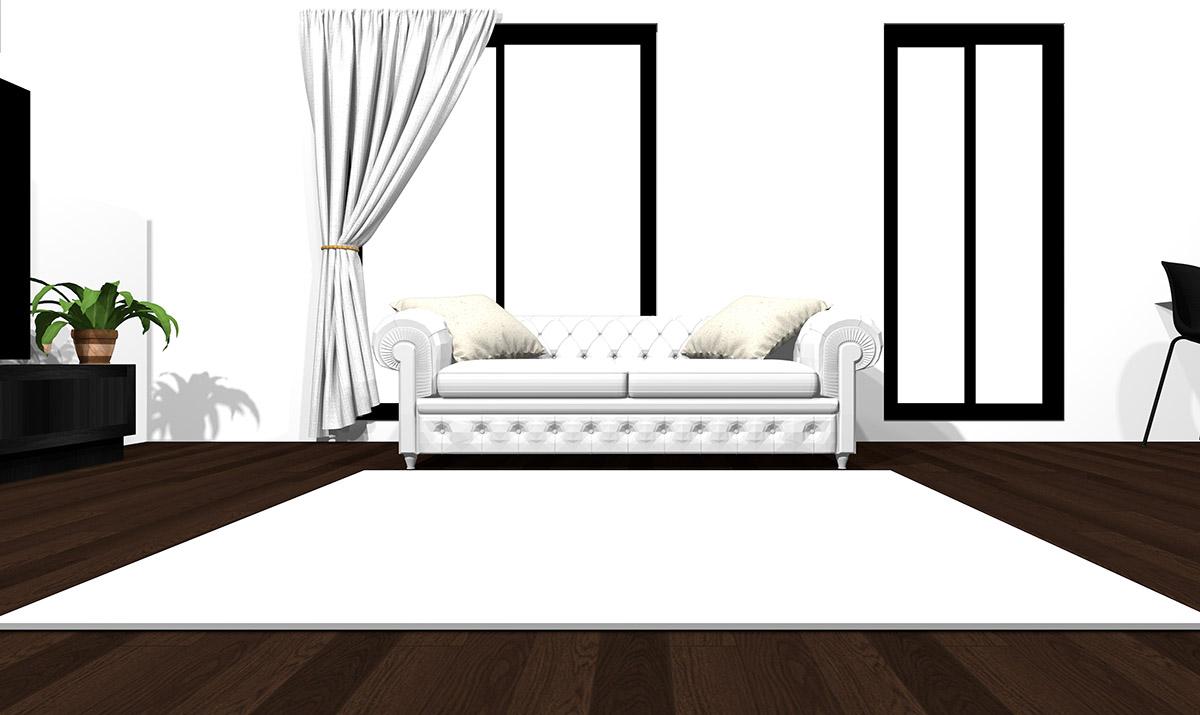 【暗い床】[ソファ]ホワイト[ラグ]ホワイト