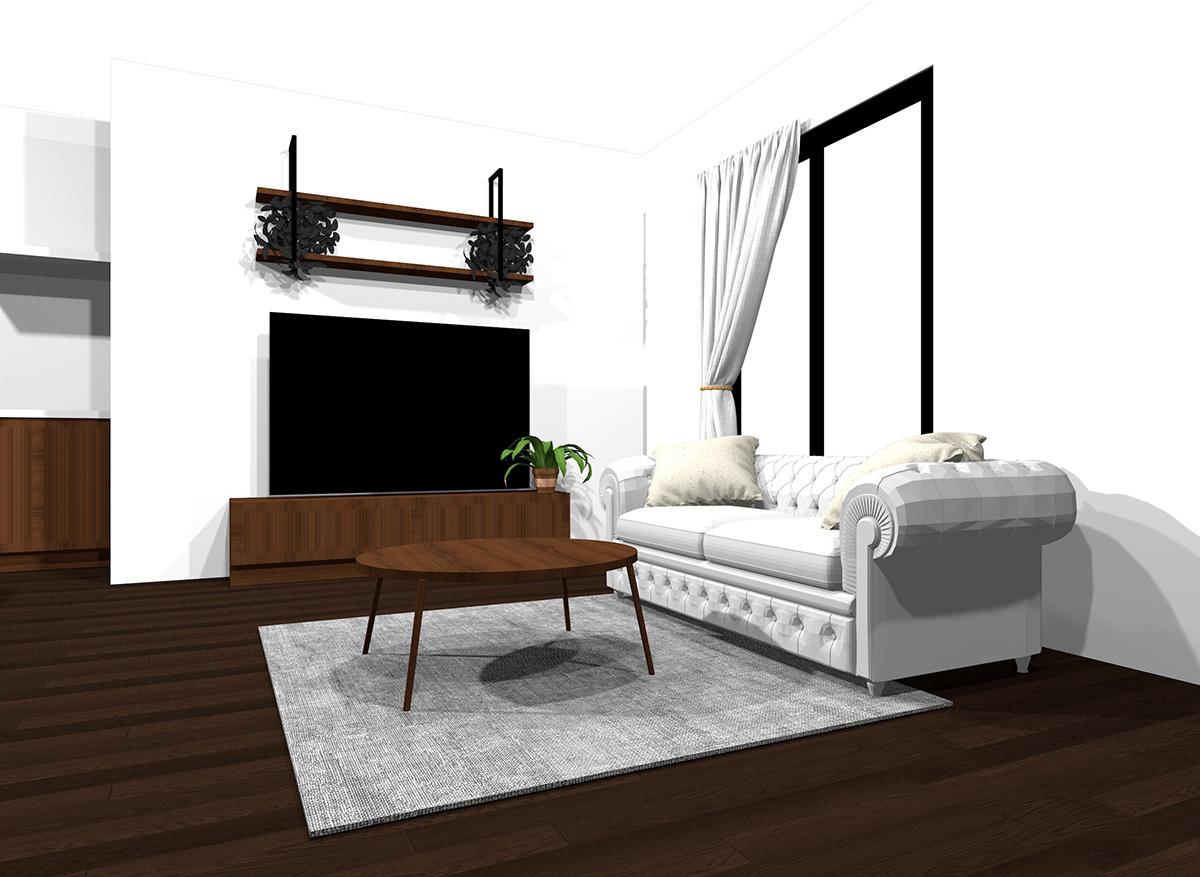 ダークブラウンの床と白っぽい壁