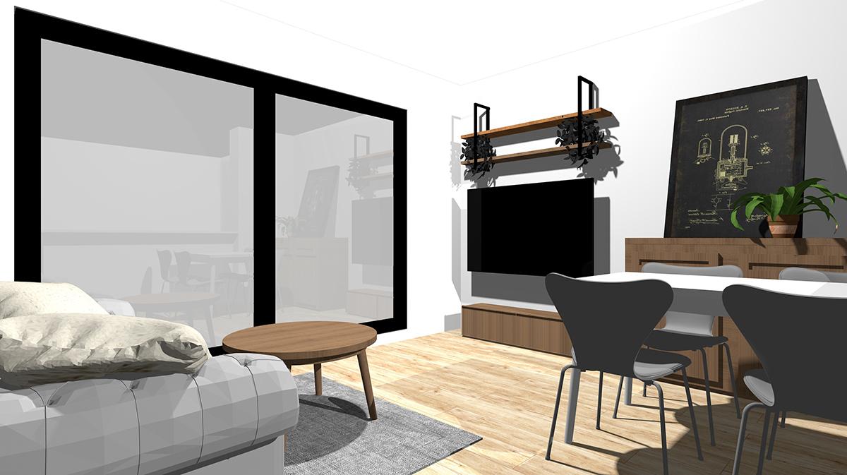 コーヒーテーブル、テレビボード、サイドボードをスモーキーブラウンの木目でまとめたリビング