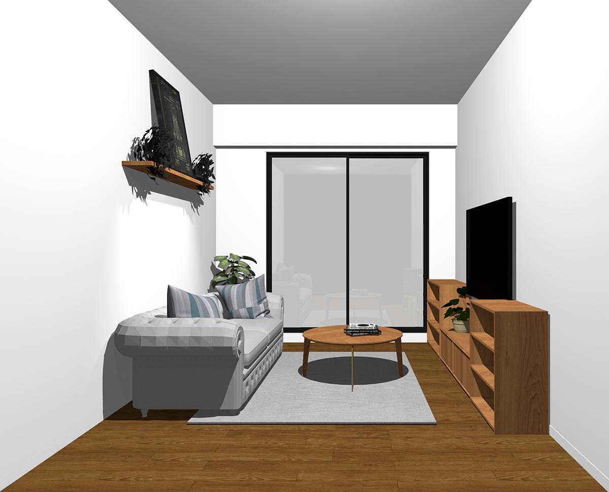窓の袖壁とテレビボードやソファの奥行き方向を揃えてレイアウトしたリビング