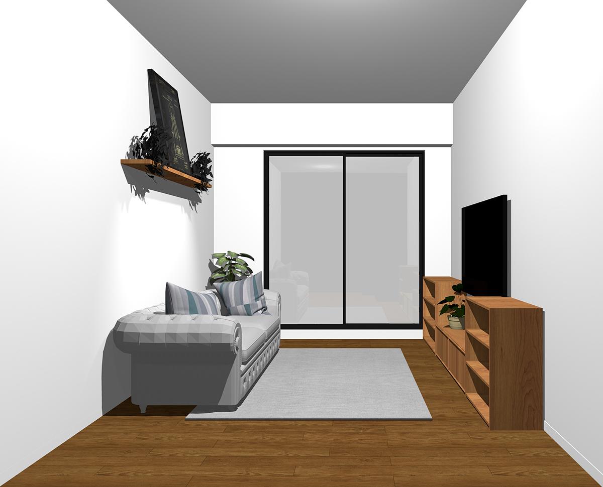 窓の袖壁とテレビボードやソファの奥行き方向を揃えてレイアウトしコーヒーテーブルを無しにしたリビング