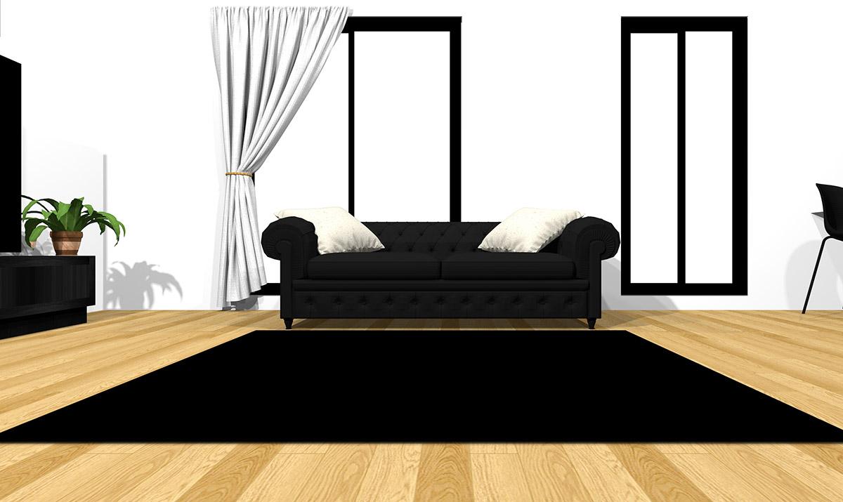 【明るい床】[ソファ]ブラック[ラグ]ブラック