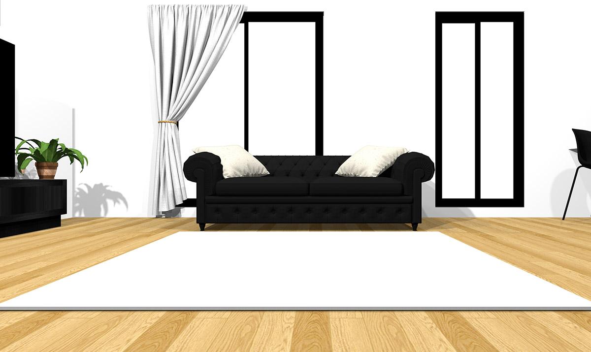 【明るい床】[ソファ]ブラック[ラグ]ホワイト