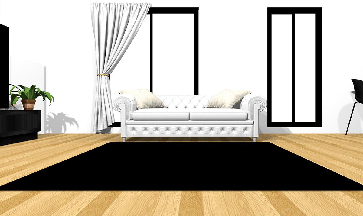 【明るい床】[ソファ]ホワイト[ラグ]ブラック