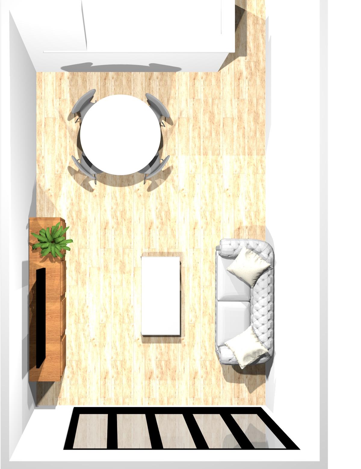リビングとダイニングの家具の位置を揃えない12畳のリビングダイニング