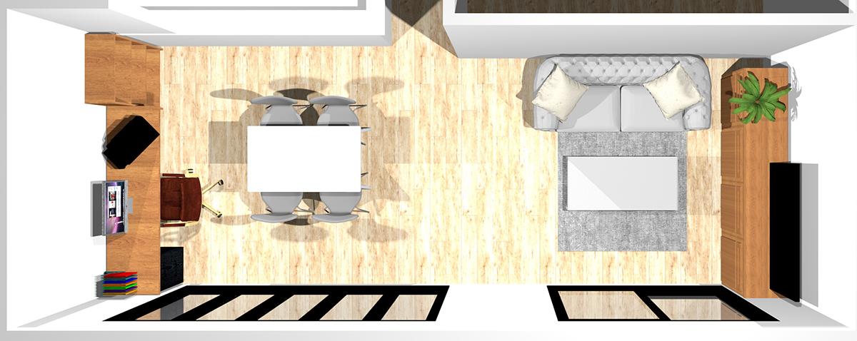 テレビボードの横(ダイニングスペース)にワークスペースを作った12畳横長リビングダイニング
