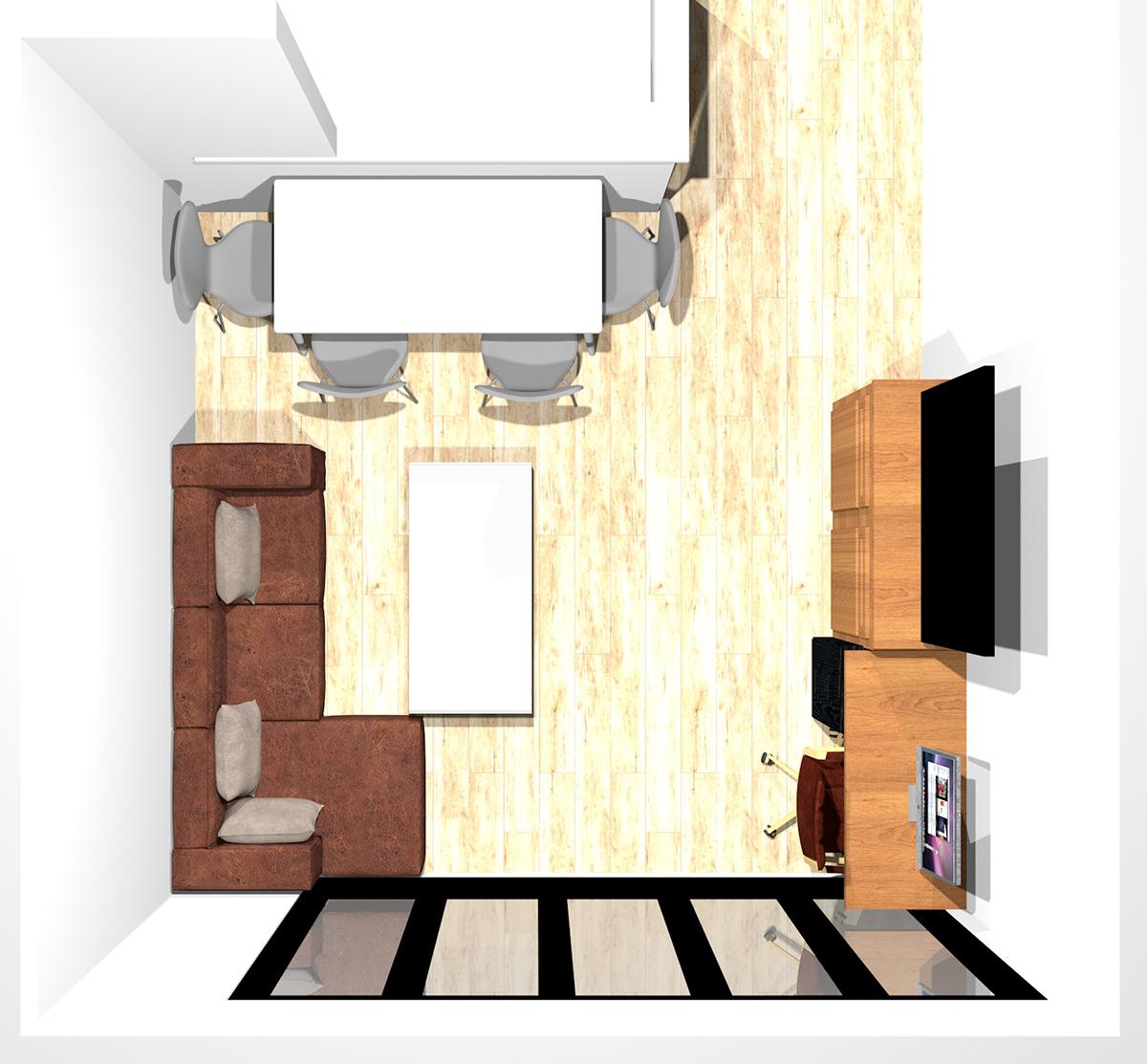 テレビボードの隣にワークスペースを作った8畳のリビングダイニング