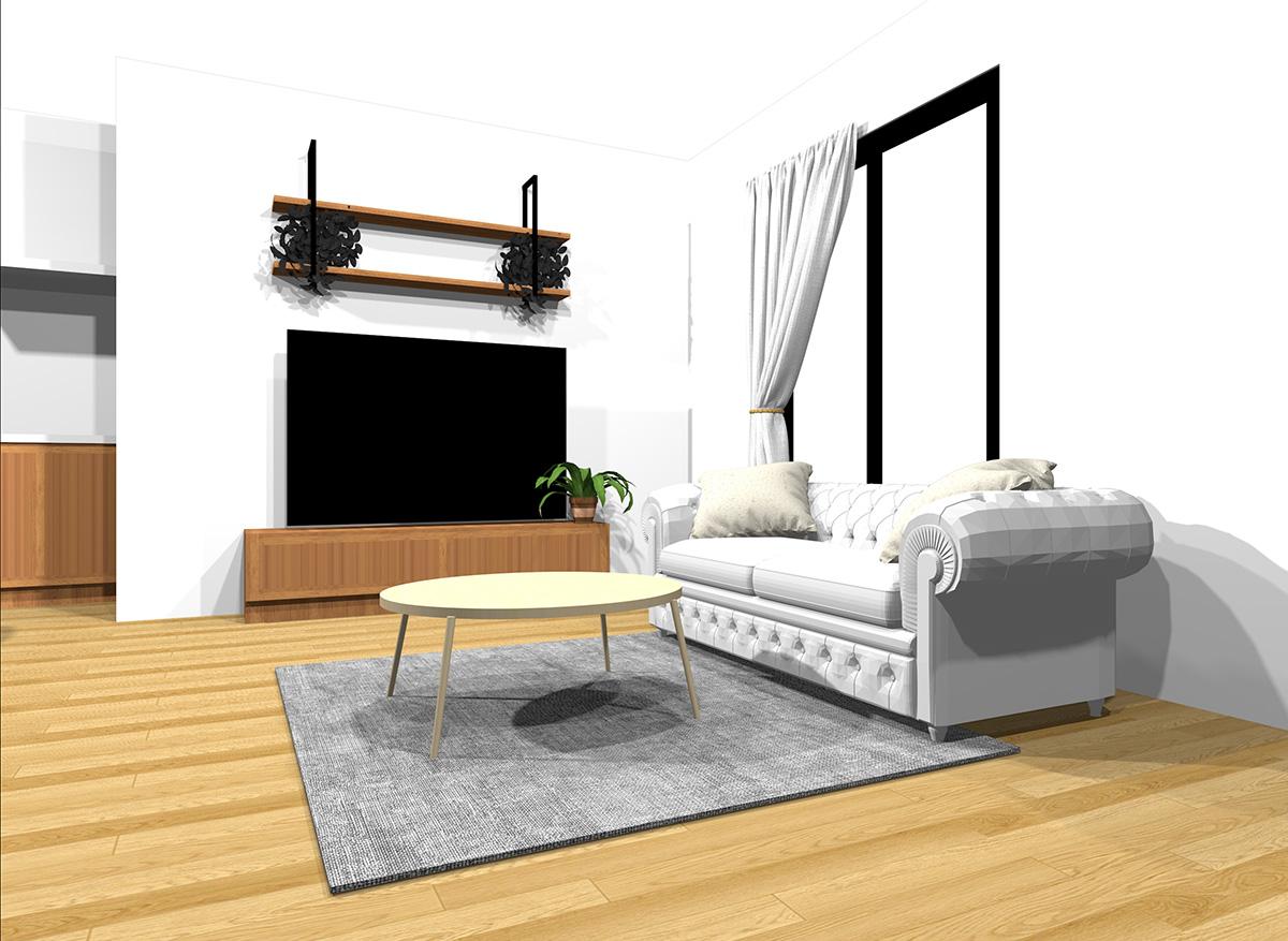 明るい&中間くらいの明るさの家具とナチュラルブラウンの床のインテリア
