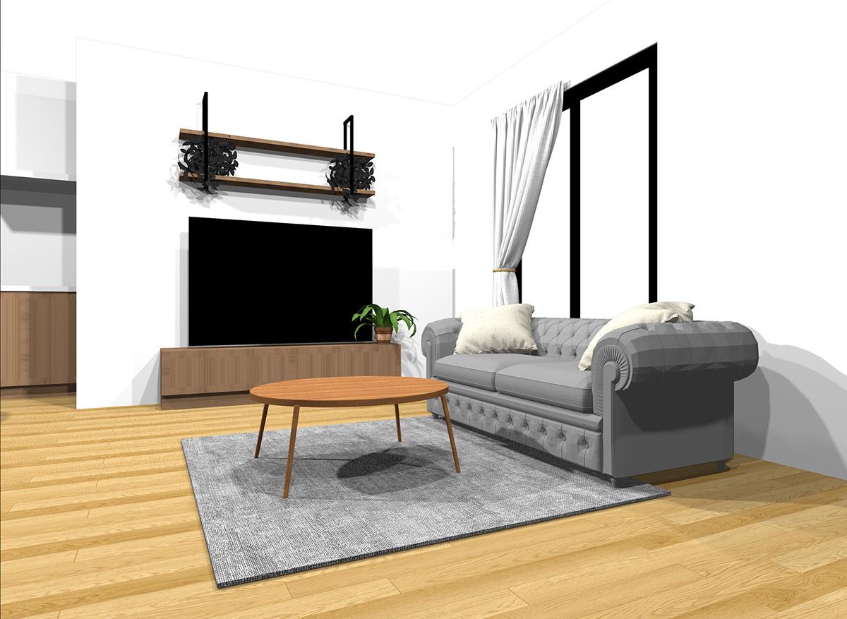 中間くらいの明るさの家具とナチュラルブラウンの床のインテリア