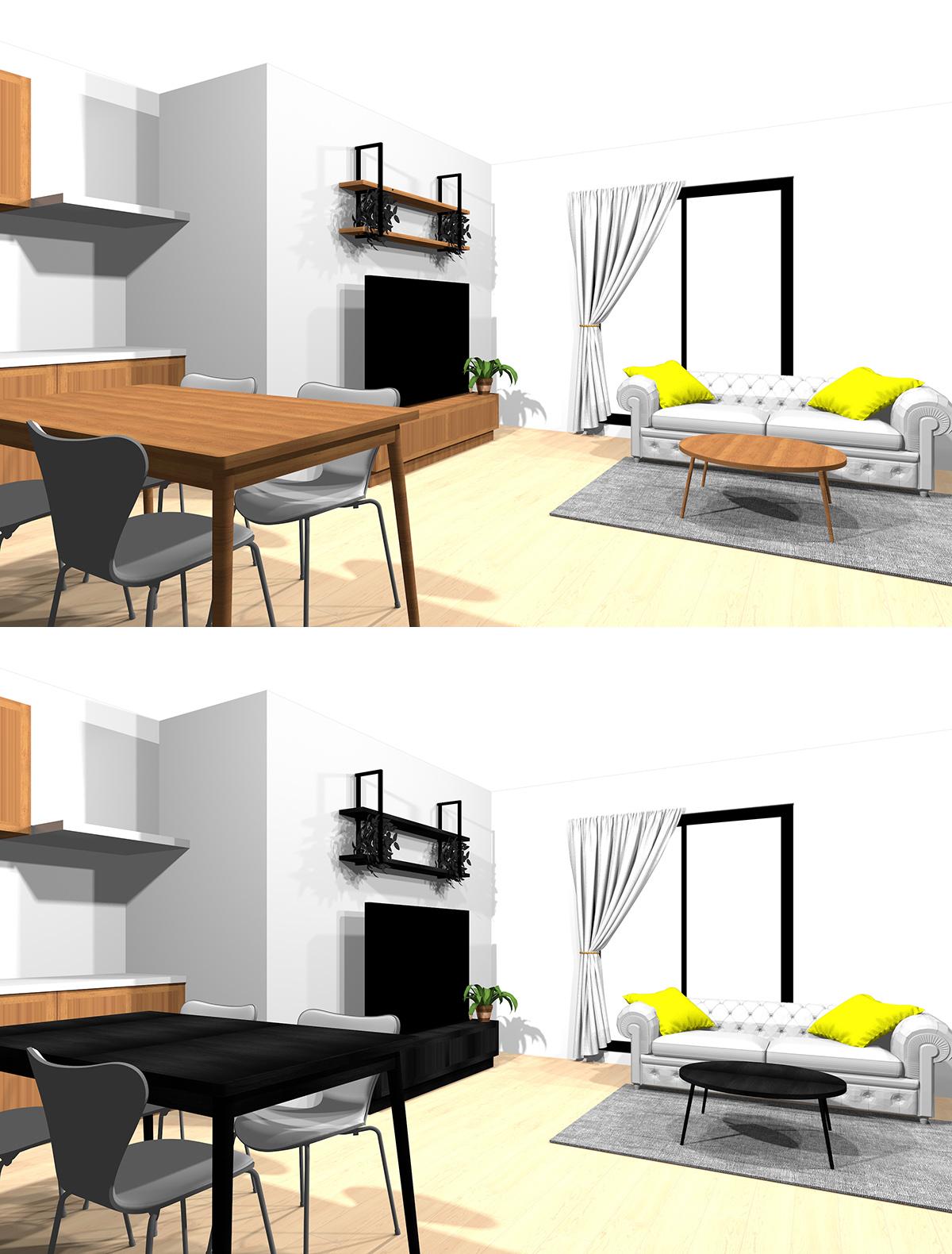 茶色の木目調の家具と黒の木目調の家具の比較パース