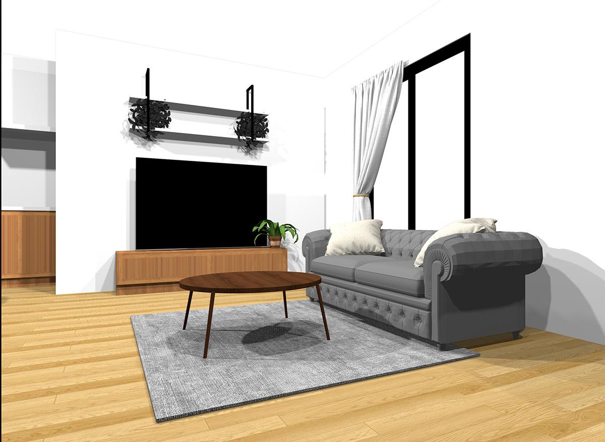 全部の明るさの家具をミックスしたナチュラルブラウンの床のインテリア